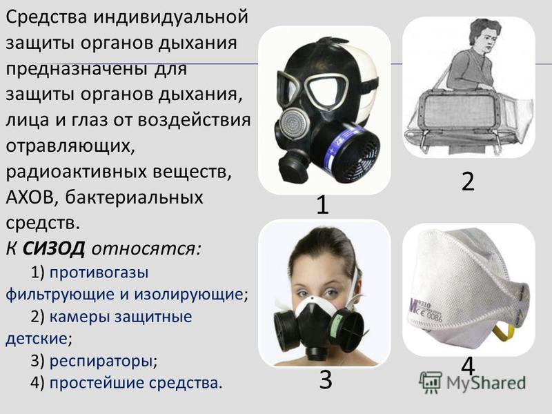 Средства индивидуальной защиты органов дыхания предназначены для защиты органов дыхания, лица и глаз от воздействия отравляющих, радиоактивных веществ, АХОВ, бактериальных средств. К СИЗОД относятся: 1) противогазы фильтрующие и изолирующие; 2) камер