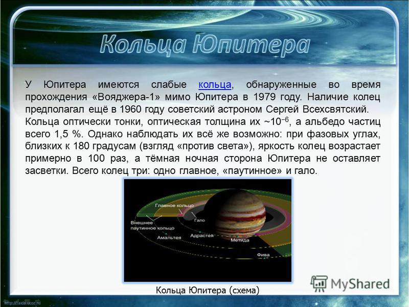 У Юпитера имеются слабые кольца, обнаруженные во время прохождения «Вояджера-1» мимо Юпитера в 1979 году. Наличие колец предполагал ещё в 1960 году советский астроном Сергей Всехсвятский.кольца Кольца оптически тонки, оптическая толщина их ~10 6, а а