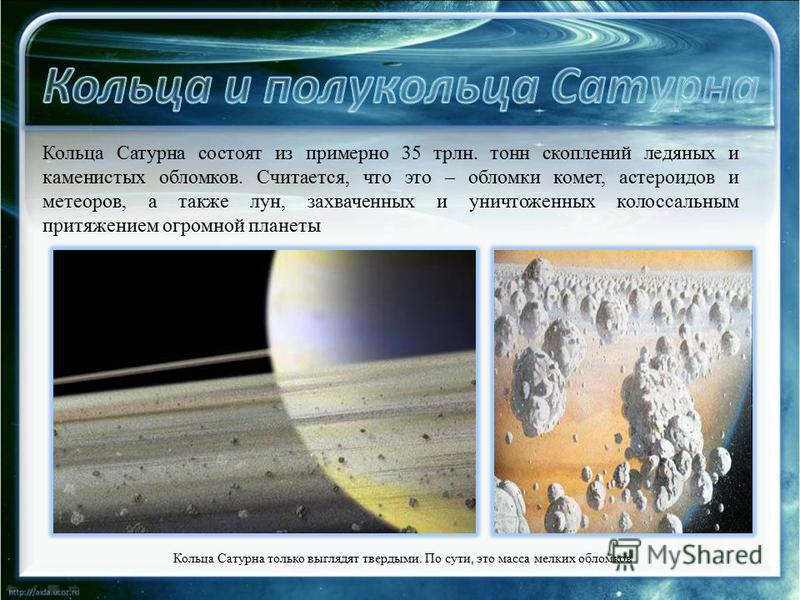 Кольца Сатурна состоят из примерно 35 трлн. тонн скоплений ледяных и каменистых обломков. Считается, что это – обломки комет, астероидов и метеоров, а также лун, захваченных и уничтоженных колоссальным притяжением огромной планеты Кольца Сатурна толь