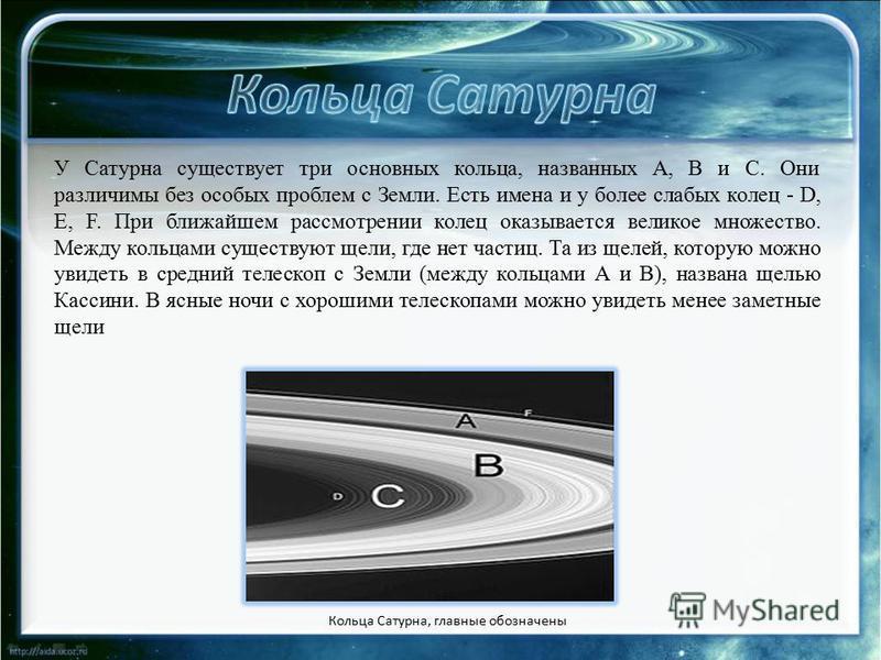 У Сатурна существует три основных кольца, названных A, B и C. Они различимы без особых проблем с Земли. Есть имена и у более слабых колец - D, E, F. При ближайшем рассмотрении колец оказывается великое множество. Между кольцами существуют щели, где н