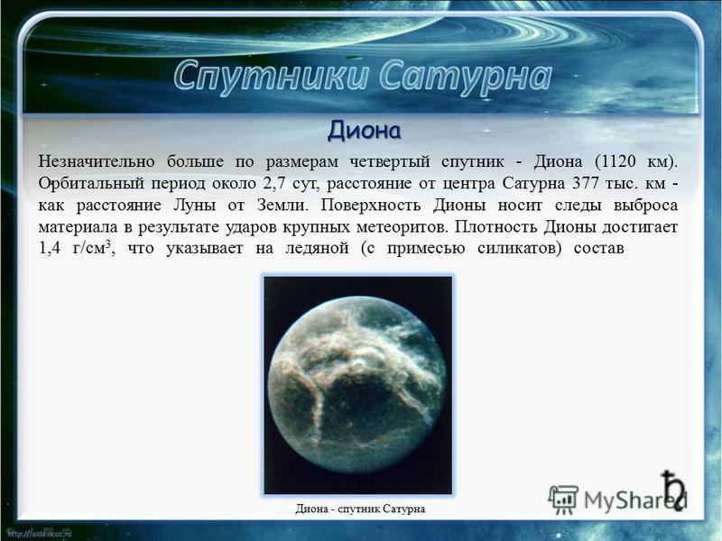 . Незначительно больше по размерам четвертый спутник - Диона (1120 км). Орбитальный период около 2,7 сут, расстояние от центра Сатурна 377 тыс. км - как расстояние Луны от Земли. Поверхность Дионы носит следы выброса материала в результате ударов кру