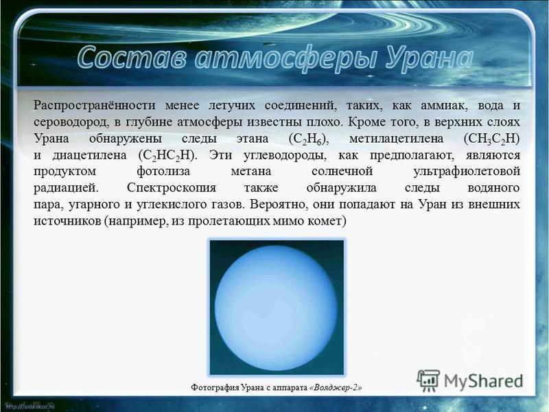 Распространённости менее летучих соединений, таких, как аммиак, вода и сероводород, в глубине атмосферы известны плохо. Кроме того, в верхних слоях Урана обнаружены следы этана (C 2 H 6 ), метилацетилена (CH 3 C 2 H) и диацетилена (C 2 HC 2 H). Эти у