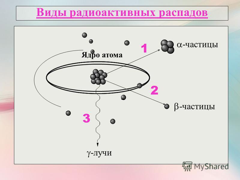 Виды радиоактивных распадов Ядро атома - - - - - - - -частицы 1 - 2 -лучи 3
