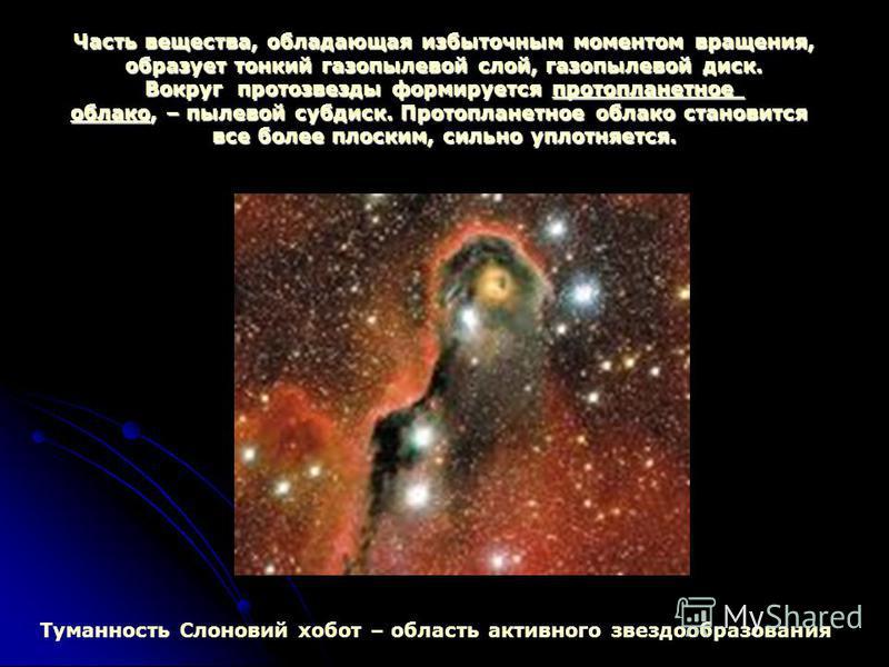 Часть вещества, обладающая избыточным моментом вращения, образует тонкий газопылевой слой, газопылевой диск. Вокруг протозвезды формируется протопланетное облако, – пылевой суп диск. Протопланетное облако становится все более плоским, сильно уплотняе