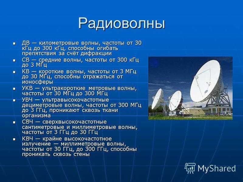 Радиоволны ДВ километровые волны, частоты от 30 к Гц до 300 к Гц, способны огибать препятствия за счёт дифракции ДВ километровые волны, частоты от 30 к Гц до 300 к Гц, способны огибать препятствия за счёт дифракции СВ средние волны, частоты от 300 к