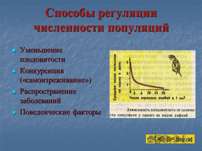 Способы регуляции численности популяций Уменьшение плодовитости Уменьшение плодовитости Конкуренция («самоизреживание») Конкуренция («самоизреживание») Распространение заболеваний Распространение заболеваний Поведенческие факторы Поведенческие фактор