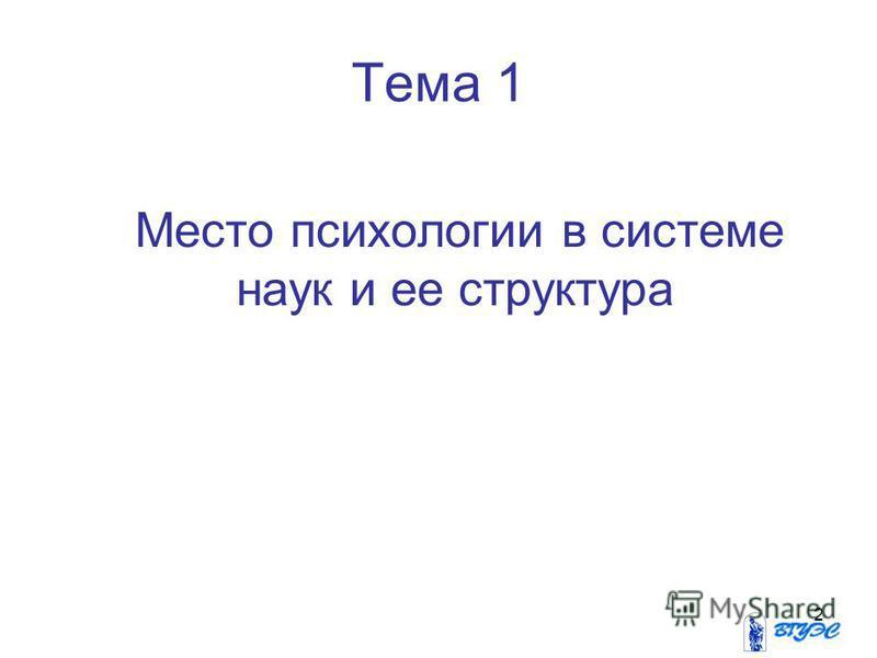 2 Тема 1 Место психологии в системе наук и ее структура
