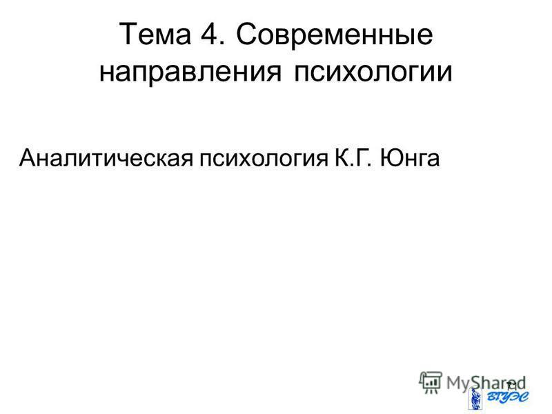 71 Аналитическая психология К.Г. Юнга Тема 4. Современные направления психологии