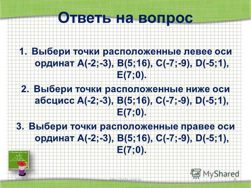Проверь себя 1 б 2 в 3 а 4 в 5 а 6 б 7 г 8 а 20.08.2015http://aida.ucoz.ru7