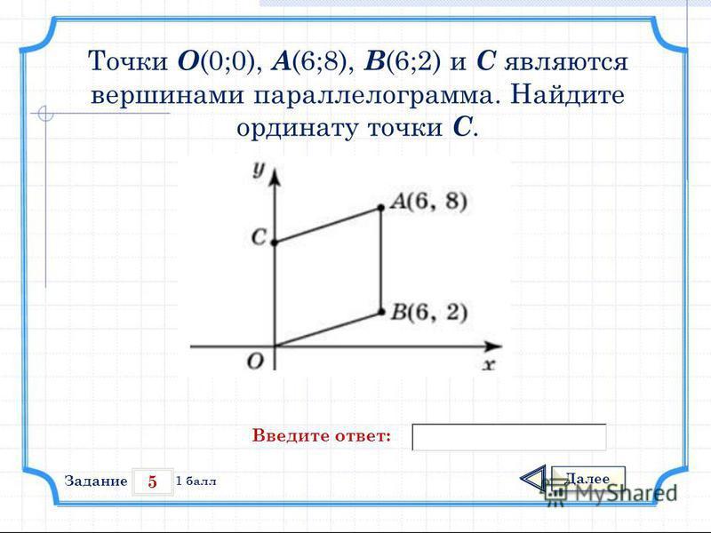 5 Задание Далее 1 балл Введите ответ: Точки О (0;0), А (6;8), В (6;2) и С являются вершинами параллелограмма. Найдите ординату точки С.