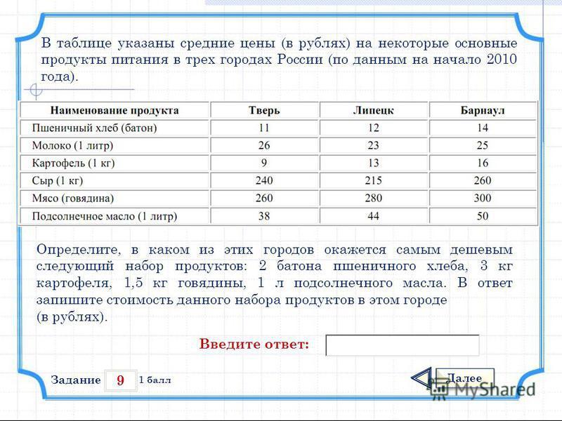 9 Задание Далее 1 балл Введите ответ: В таблице указаны средние цены (в рублях) на некоторые основные продукты питания в трех городах России (по данным на начало 2010 года). Определите, в каком из этих городов окажется самым дешевым следующий набор п