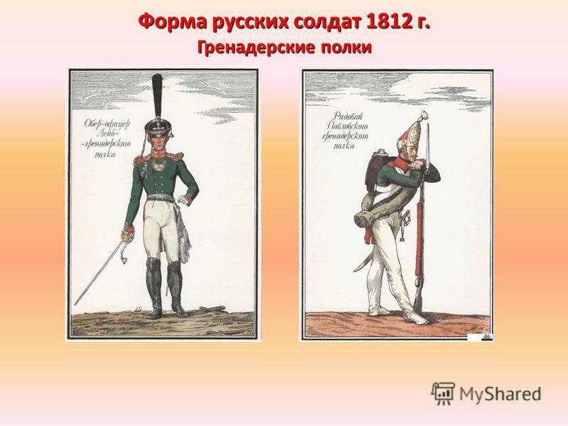 Форма русских солдат 1812 г. Гренадерские полки