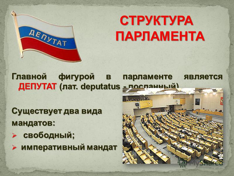 Главной фигурой в парламенте является ДЕПУТАТ (лат. deputatus - посланный). Существует два вида мандатов: свободный; свободный; императивный мандат императивный мандат СТРУКТУРА ПАРЛАМЕНТА ПАРЛАМЕНТА