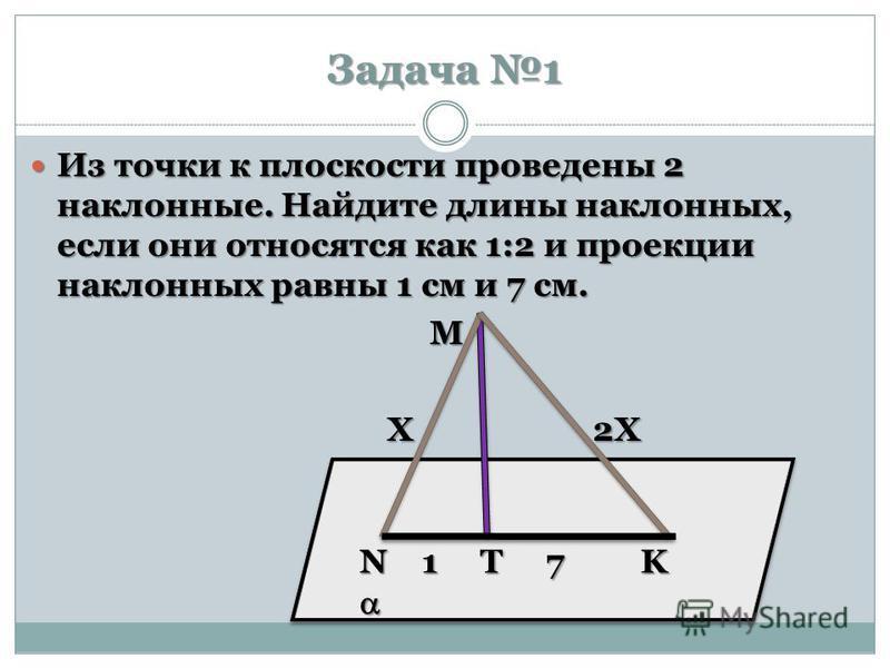 Задача 1 Из точки к плоскости проведены 2 наклонные. Найдите длины наклонных, если они относятся как 1:2 и проекции наклонных равны 1 см и 7 см. Из точки к плоскости проведены 2 наклонные. Найдите длины наклонных, если они относятся как 1:2 и проекци
