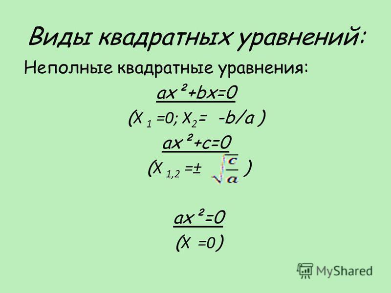 Виды квадратных уравнений: Неполные квадратные уравнения: ax²+bx=0 ( X 1 =0; X 2 = -b/a ) ax²+c=0 ( X 1,2 =± ) ax²=0 ( X =0 )