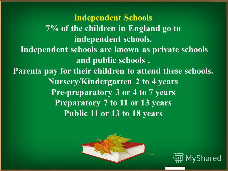 Independent Schools 7% of the children in England go to independent schools. Independent schools are known as private schools and public schools. Parents pay for their children to attend these schools. Nursery/Kindergarten 2 to 4 years Pre-preparator