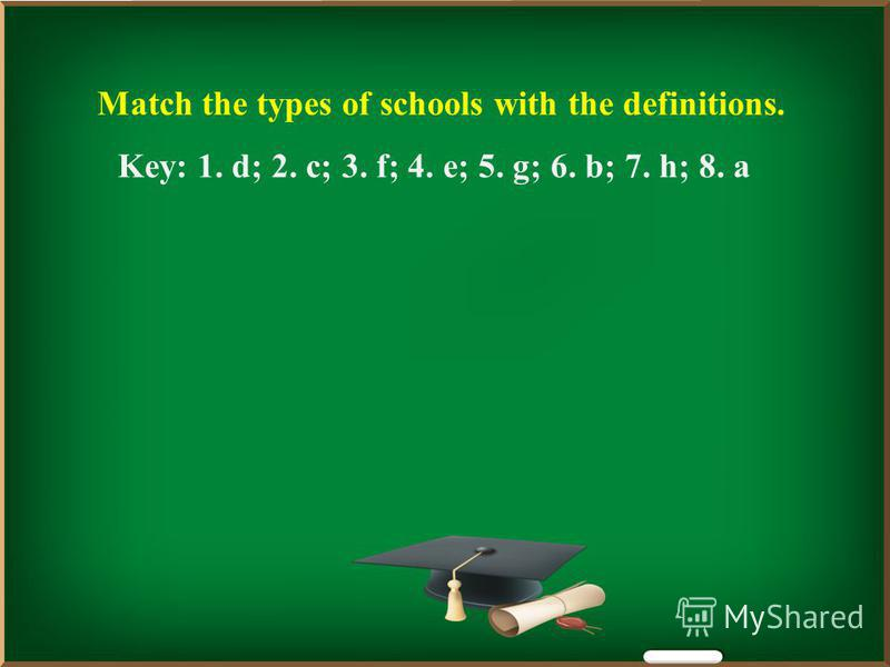 Match the types of schools with the definitions. Key: 1. d; 2. c; 3. f; 4. e; 5. g; 6. b; 7. h; 8. a