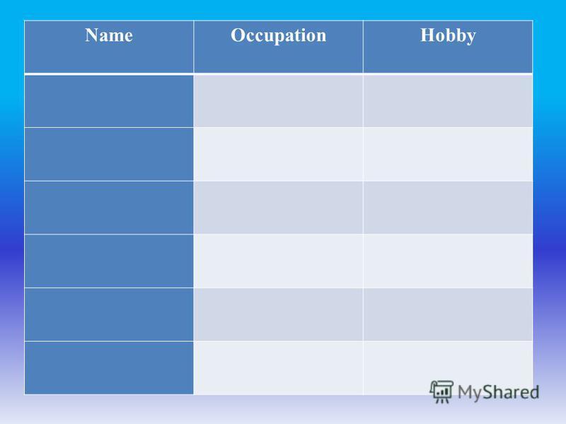 NameOccupationHobby