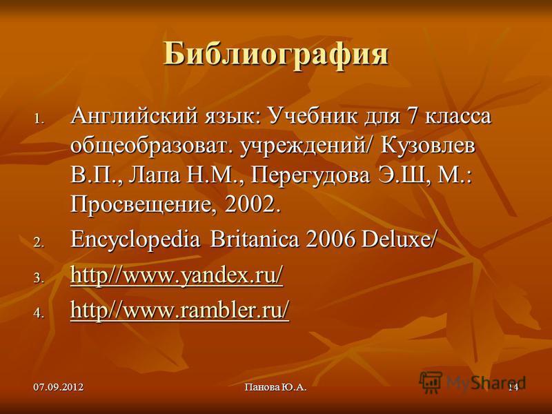07.09.2012Панова Ю.А.14 Библиография 1. Английский язык: Учебник для 7 класса общеобразоват. учреждений/ Кузовлев В.П., Лапа Н.М., Перегудова Э.Ш, М.: Просвещение, 2002. 2. Encyclopedia Britanica 2006 Deluxe/ 3. http//www.yandex.ru/ http//www.yandex.