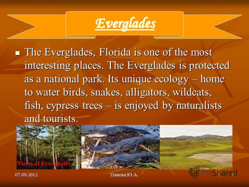 07.09.2012Панова Ю.А.7 Everglades The Everglades, Florida is one of the most interesting places. The Everglades is protected as a national park. Its unique ecology – home to water birds, snakes, alligators, wildcats, fish, cypress trees – is enjoyed