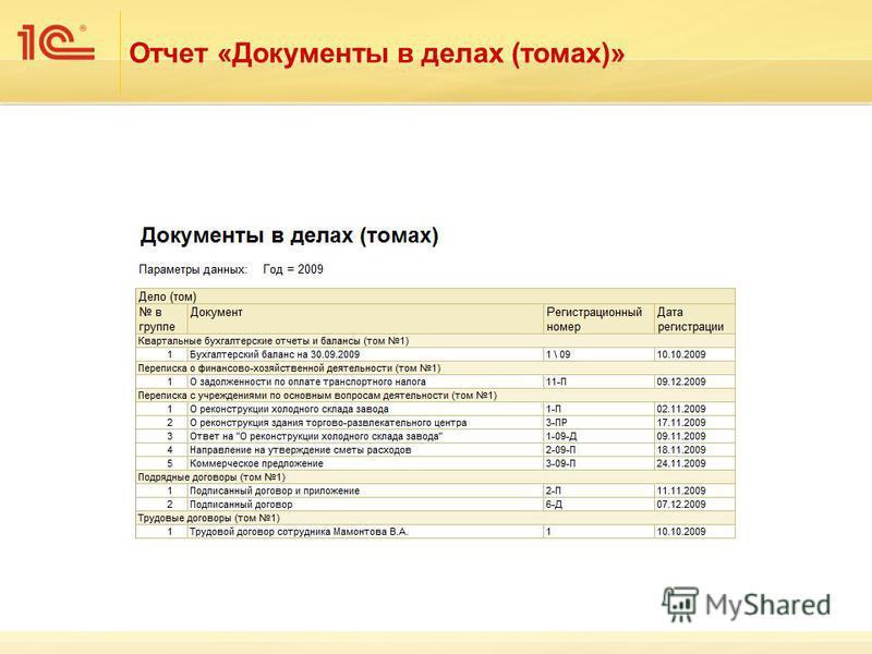 Отчет «Документы в делах (томах)»