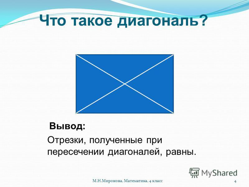 Что такое диагональ? Отрезки, полученные при пересечении диагоналей, равны. Вывод: 4М.Н.Миронова, Математика, 4 класс