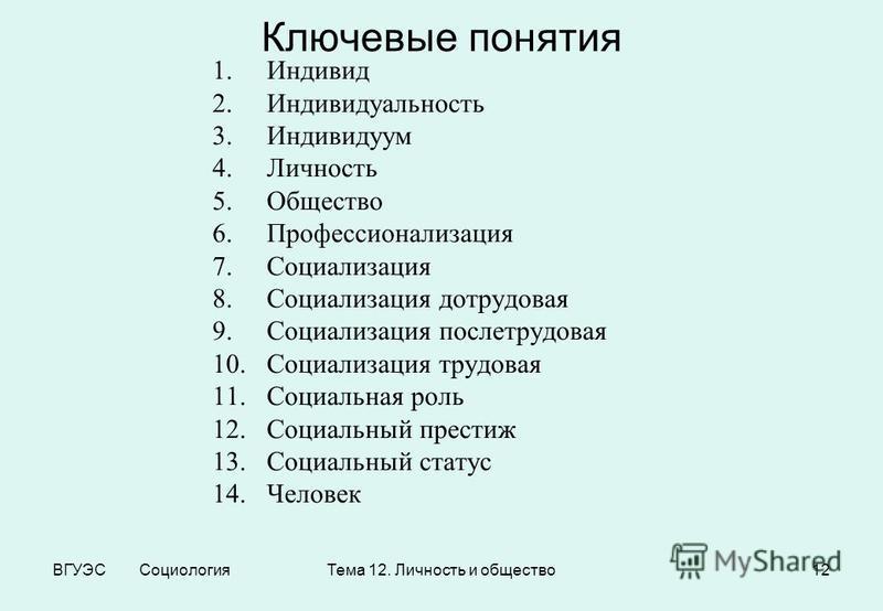 ВГУЭС Социология Тема 12. Личность и общество 12 Ключевые понятия 1. Индивид 2. Индивидуальность 3. Индивидуум 4. Личность 5. Общество 6. Профессионализация 7. Социализация 8. Социализация дотрудовая 9. Социализация послетрудовая 10. Социализация тру