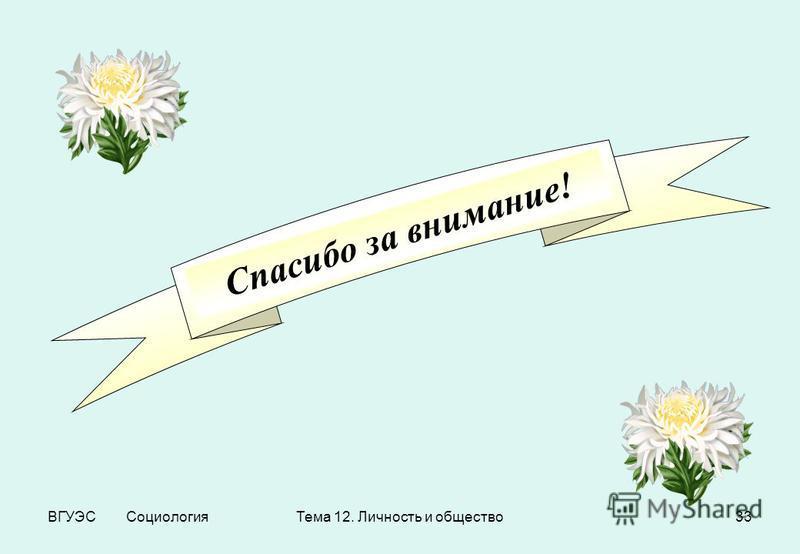 ВГУЭС Социология Тема 12. Личность и общество 33 Спасибо за внимание!
