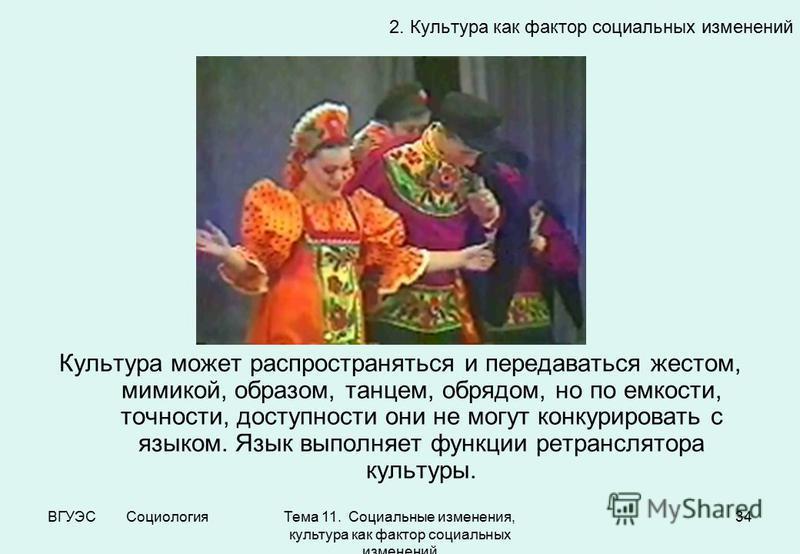 ВГУЭС Социология Тема 11. Социальные изменения, культура как фактор социальных изменений 34 Культура может распространяться и передаваться жестом, мимикой, образом, танцем, обрядом, но по емкости, точности, доступности они не могут конкурировать с яз