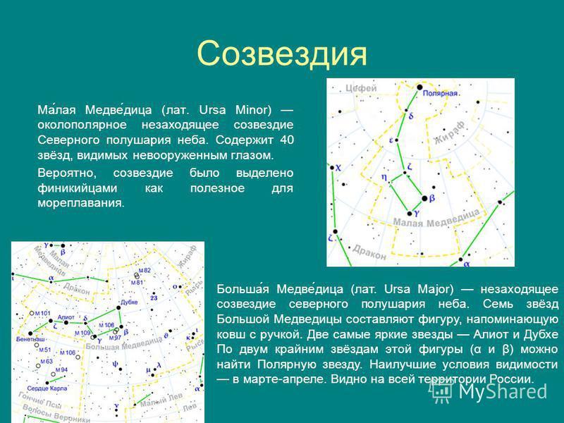 Созвездия Ма́лая Медве́дица (лат. Ursa Minor) околополярное незаходящее созвездие Северного полушария неба. Содержит 40 звёзд, видимых невооруженным глазом. Вероятно, созвездие было выделено финикийцами как полезное для мореплавания. Больша́я Медве́д