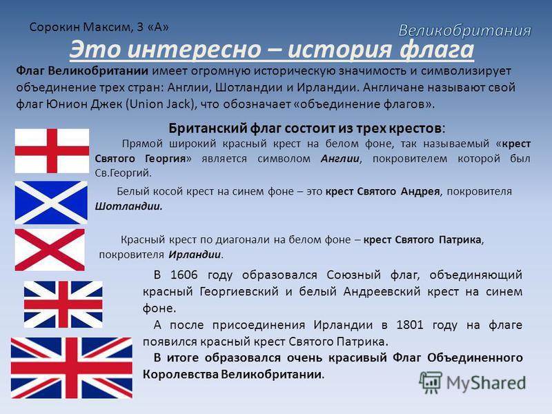 Сорокин Максим, 3 «А» Это интересно – история флага Флаг Великобритании имеет огромную историческую значимость и символизирует объединение трех стран: Англии, Шотландии и Ирландии. Англичане называют свой флаг Юнион Джек (Union Jack), что обозначает