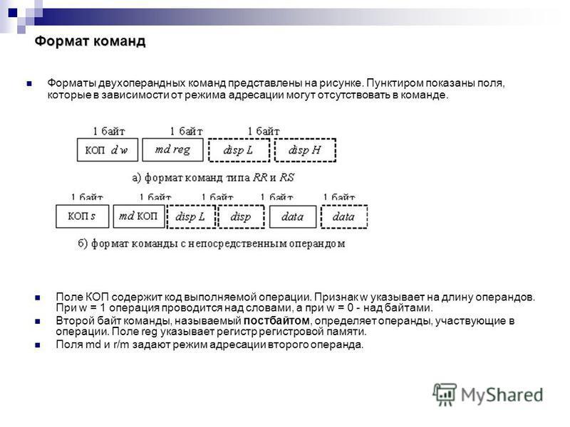Формат команд Поле КОП содержит код выполняемой операции. Признак w указывает на длину операндов. При w = 1 операция проводится над словами, а при w = 0 - над байтами. Второй байт команды, называемый постбайтом, определяет операнды, участвующие в опе
