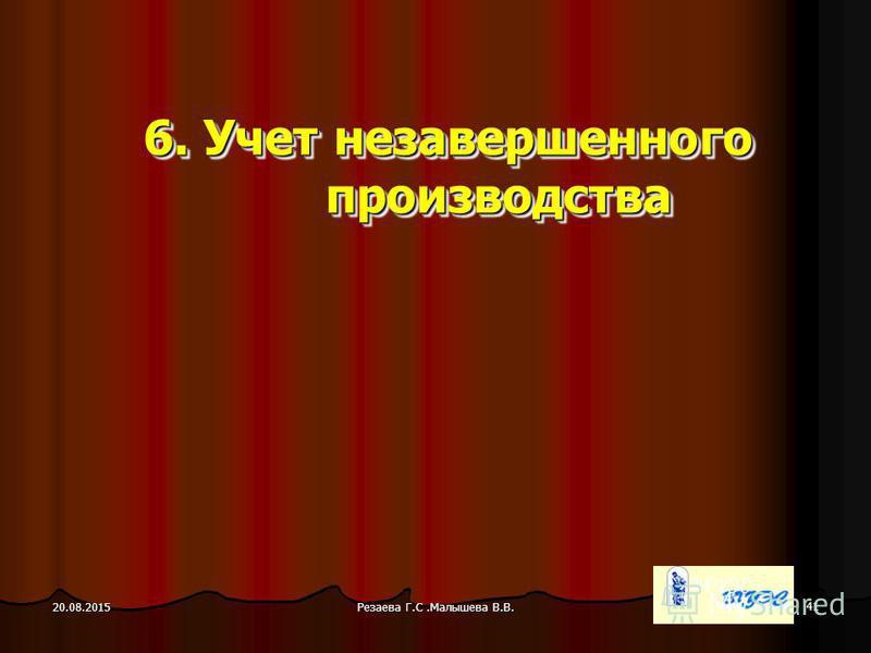 Резаева Г.С.Малышева В.В. 41 20.08.2015 6. Учет незавершенного производства