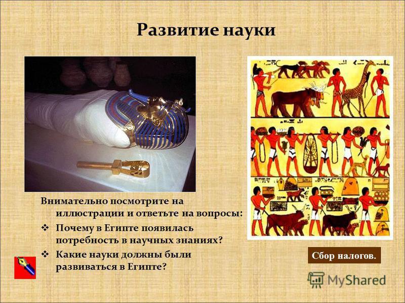Развитие науки Внимательно посмотрите на иллюстрации и ответьте на вопросы: Почему в Египте появилась потребность в научных знаниях? Какие науки должны были развиваться в Египте? Сбор налогов.