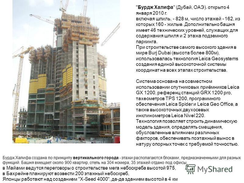 Бурдж Халифа создана по принципу вертикального города - этажи располагаются блоками, предназначенными для разных функций. Башня вмещает около 900 квартир, отель на 304 номера, 35 этажей отдано под офисы. в Майами ведутся переговоры о строительстве ме