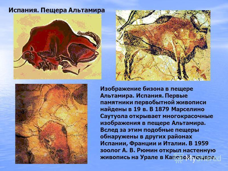 Изображение бизона в пещере Альтамира. Испания. Первые памятники первобытной живописи найдены в 19 в. В 1879 Марселино Саутуола открывает многокрасочные изображения в пещере Альтамира. Вслед за этим подобные пещеры обнаружены в других районах Испании