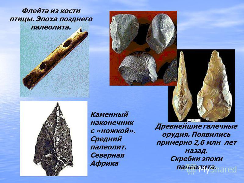 . Древнейшие галечные орудия. Появились примерно 2,6 млн лет назад. Скребки эпохи палеолита. Флейта из кости птицы. Эпоха позднего палеолита. Каменный наконечник с «ножкой». Средний палеолит. Северная Африка