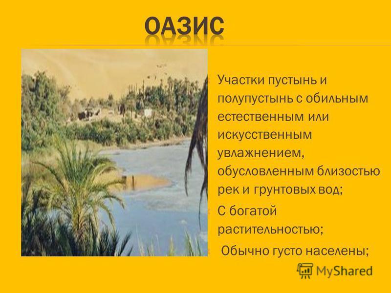 Участки пустынь и полупустынь с обильным естественным или искусственным увлажнением, обусловленным близостью рек и грунтовых вод; С богатой растительностью; Обычно густо населены;
