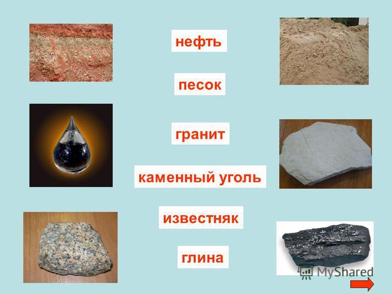 каменный уголь известняк глина гранит песок нефть