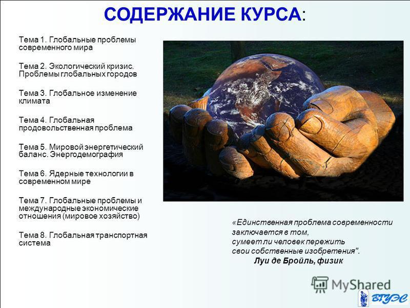 Тема 1. Глобальные проблемы современного мира Тема 2. Экологический кризис. Проблемы глобальных городов Тема 3. Глобальное изменение климата Тема 4. Глобальная продовольственная проблема Тема 5. Мировой энергетический баланс. Энергодемография Тема 6.