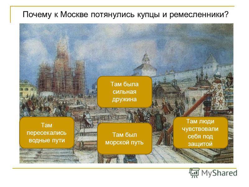 Почему к Москве потянулись купцы и ремесленники? Там люди чувствовали себя под защитой Там пересекались водные пути Там была сильная дружина Там был морской путь