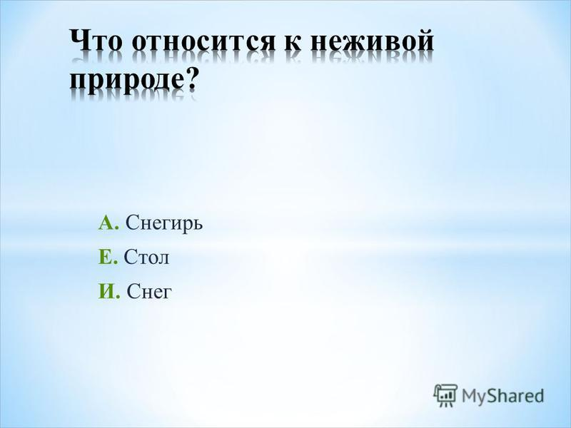 А. Снегирь Е. Стол И. Снег