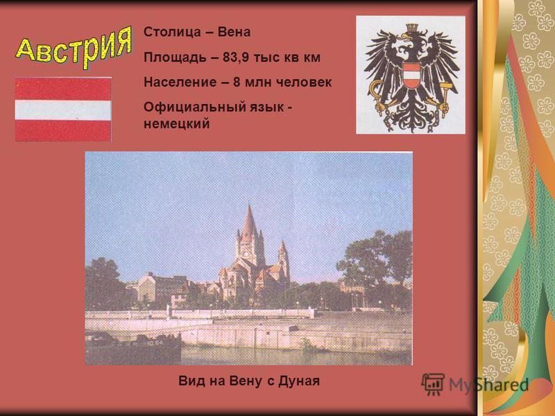 Столица – Вена Площадь – 83,9 тыс кв км Население – 8 млн человек Официальный язык - немецкий Вид на Вену с Дуная