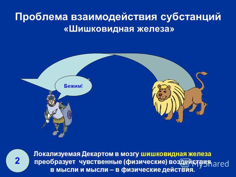 Проблема взаимодействия субстанций «Шишковидная железа» Лев! Бежим! Локализуемая Декартом в мозгу шишковидная железа преобразует чувственные (физические) воздействия в мысли и мысли – в физические действия. 2