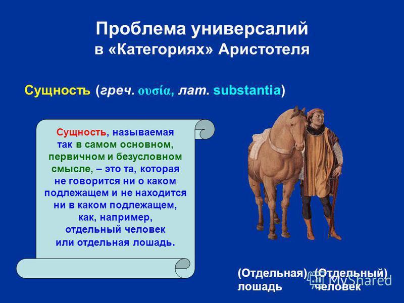 Проблема универсалий в «Категориях» Аристотеля (Отдельная) лошадь (Отдельный) человек Сущность, называемая так в самом основном, первичном и безусловном смысле, – это та, которая не говорится ни о каком подлежащем и не находится ни в каком подлежащем