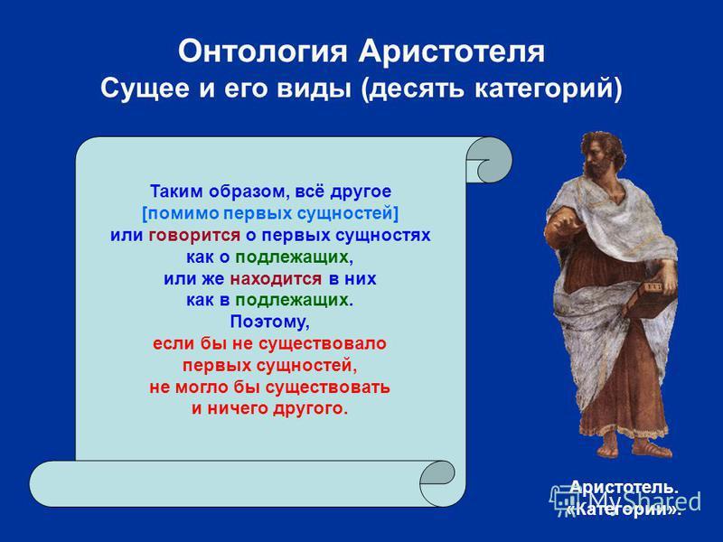 Онтология Аристотеля Сущее и его виды (десять категорий) Таким образом, всё другое [помимо первых сущностей] или говорится о первых сущностях как о подлежащих, или же находится в них как в подлежащих. Поэтому, если бы не существовало первых сущностей