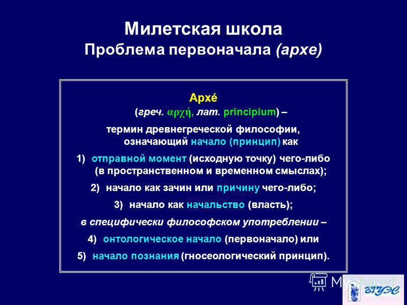 Милетская школа Проблема первоначала (архи) Архé (греч. αρχή, лат. principium) – термин древнегреческой философии, означающий начало (принцип) как 1)отправной момент (исходную точку) чего-либо (в пространственном и временном смыслах); 2)начало как за