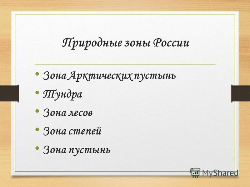 Тема «Природные зоны России»
