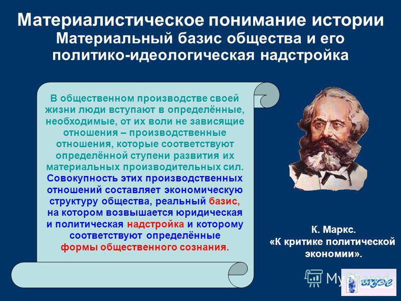 Материалистическое понимание истории Материальный базис общества и его политико-идеологическая надстройка В общественном производстве своей жизни люди вступают в определённые, необходимые, от их воли не зависящие отношения – производственные отношени