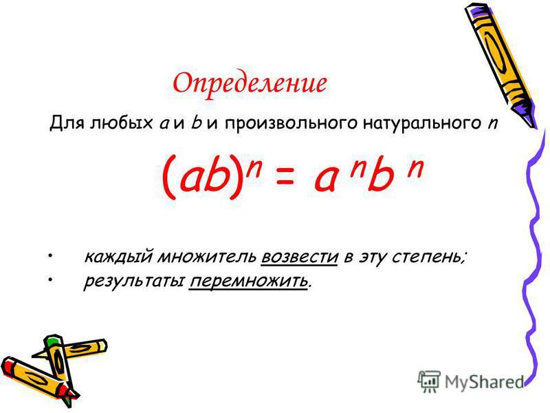 Определение Для любых a и b и произвольного натурального n (ab) n = a n b n каждый множитель возвести в эту степень; результаты перемножить.